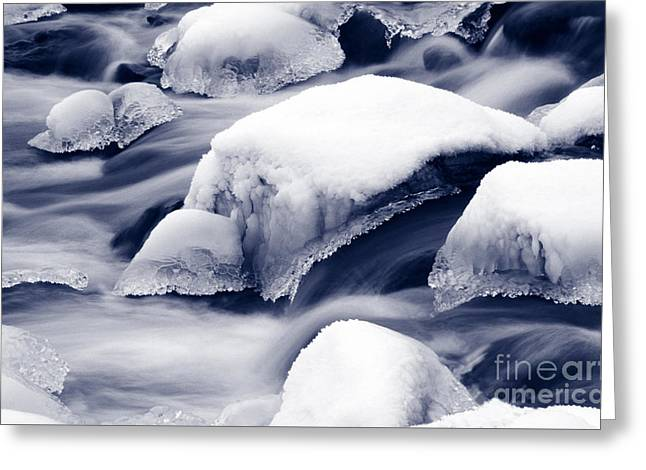 Greeting Card featuring the photograph Snowy Rocks by Liz Leyden