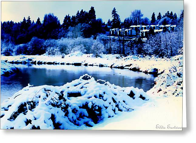 Snowy Sammamish River Bothell Washington Greeting Card