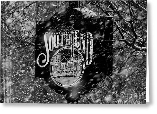 Snowy Southend Greeting Card by Robert Yaeger
