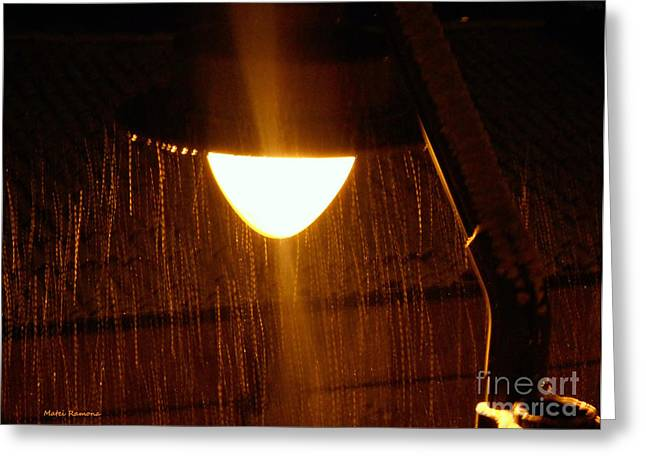 Greeting Card featuring the photograph Snowy Street Lamp by Ramona Matei