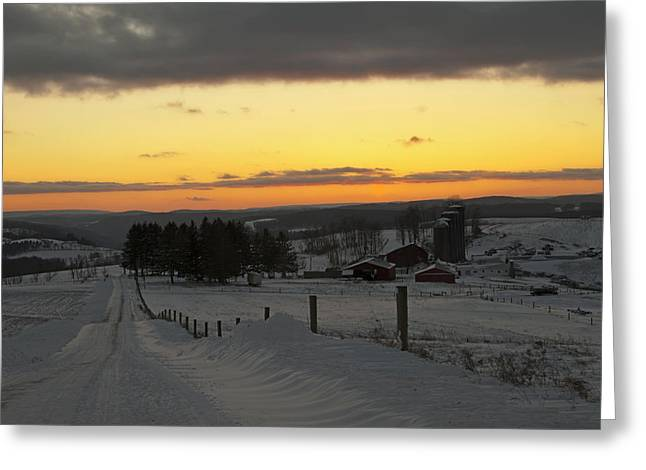Snowy Pennsylvania Sunset Greeting Card
