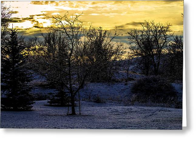 Snowy Sunset Greeting Card by Joshua Dwyer
