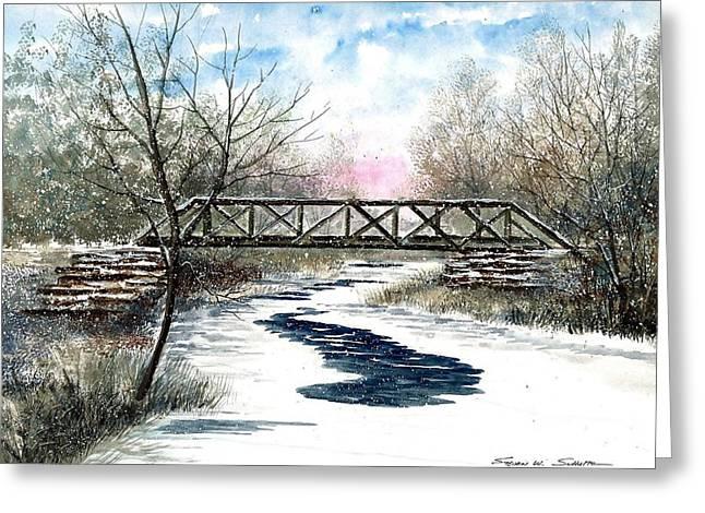 Snowy Train Bridge Greeting Card