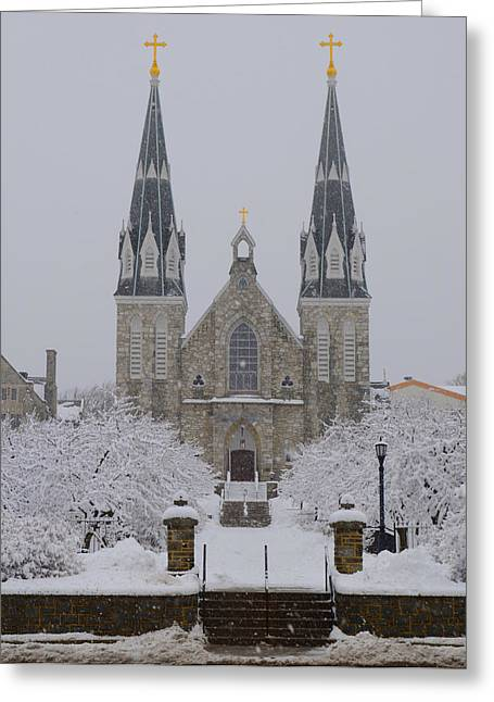 Snowy Villanova University Greeting Card by Bill Cannon