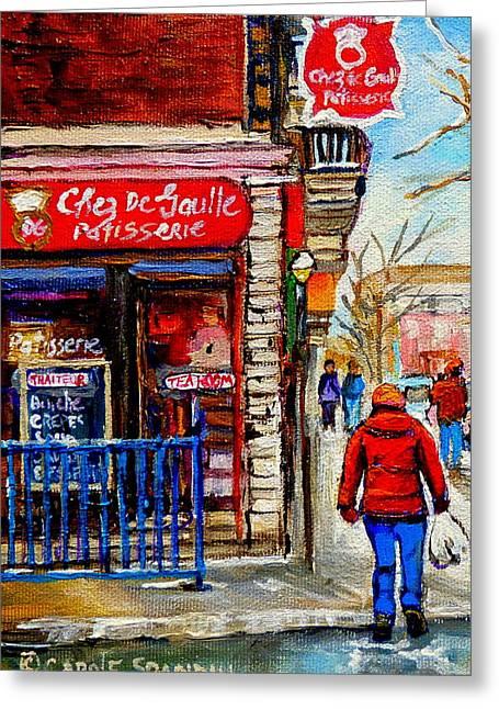 Snowy Walk By The Tea Room And Pastry Shop Winter Street Montreal Art Carole Spandau  Greeting Card by Carole Spandau