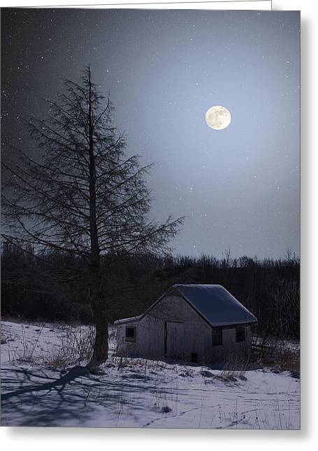 Greeting Card featuring the photograph Snowy Winter Shed by Larry Landolfi