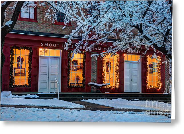 Snowy Winter Smoot Hall Brigham Young Academy Greeting Card
