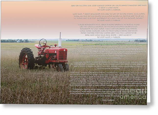 So God Made A Farmer Greeting Card by Rebecca Davis