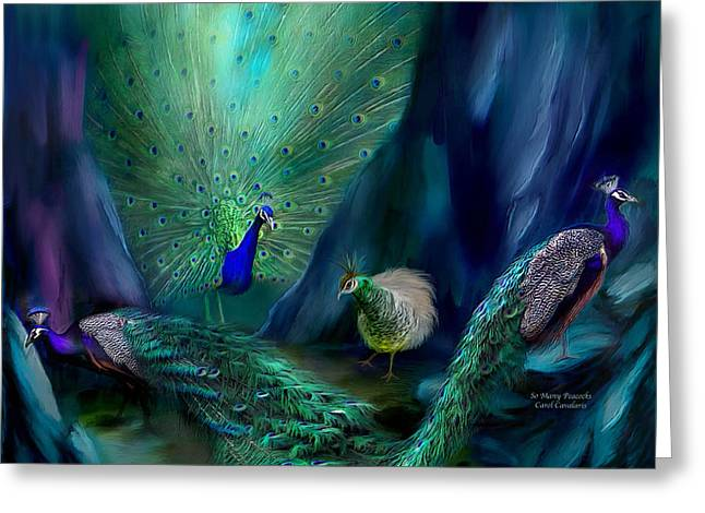 So Many Peacocks Greeting Card by Carol Cavalaris