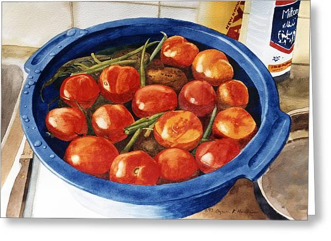 Soaking Tomatoes Greeting Card