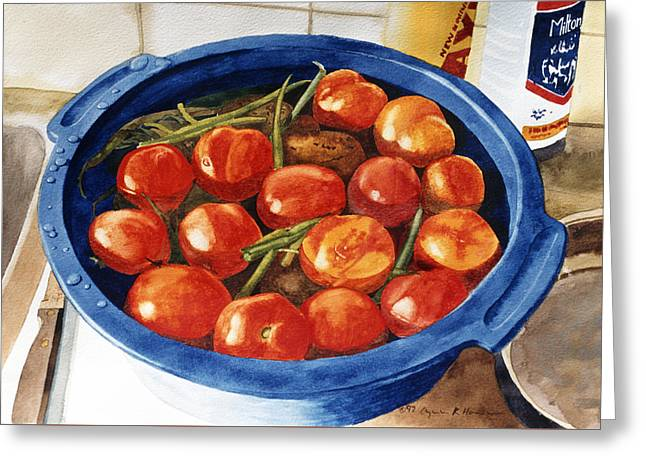 Soaking Tomatoes Greeting Card