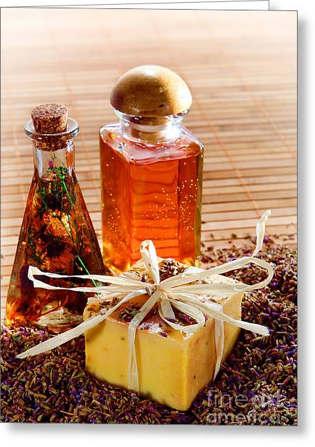 Soap And Fragrance Oils Greeting Card by Olivier Le Queinec
