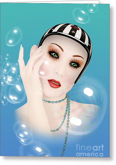 Soap Bubble Woman  Greeting Card by Mark Ashkenazi