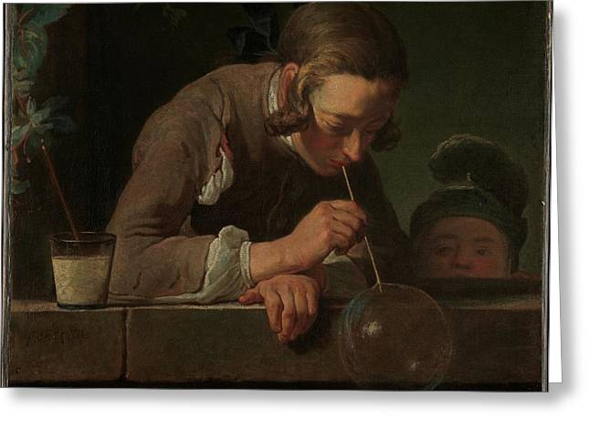 Soap Bubbles Greeting Card by Jean Sim�on Chardin