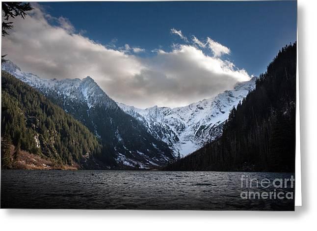 Soaring Mountain Lake Greeting Card by Mike Reid