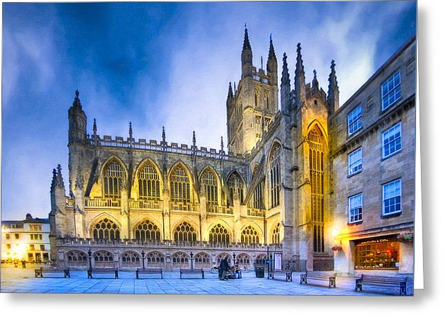 Soaring Perpendicular Gothic Architecture Of Bath Abbey Greeting Card by Mark E Tisdale