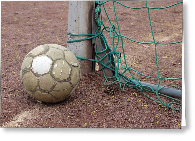 Soccer Ball And Goal Greeting Card by Matthias Hauser