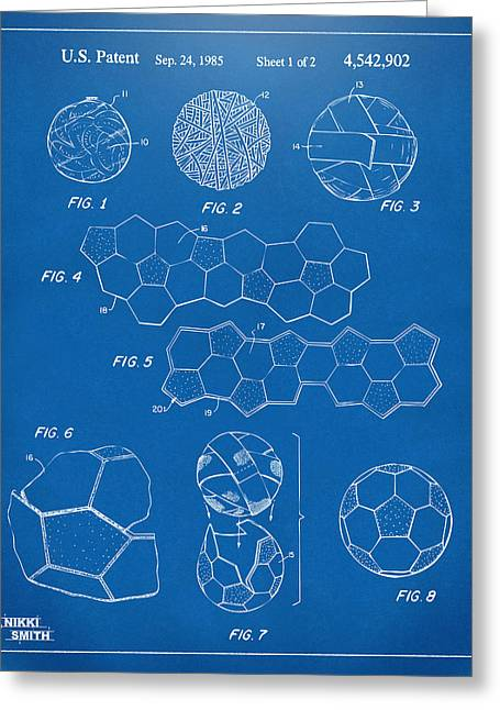 Soccer Ball Construction Artwork - Blueprint Greeting Card by Nikki Marie Smith