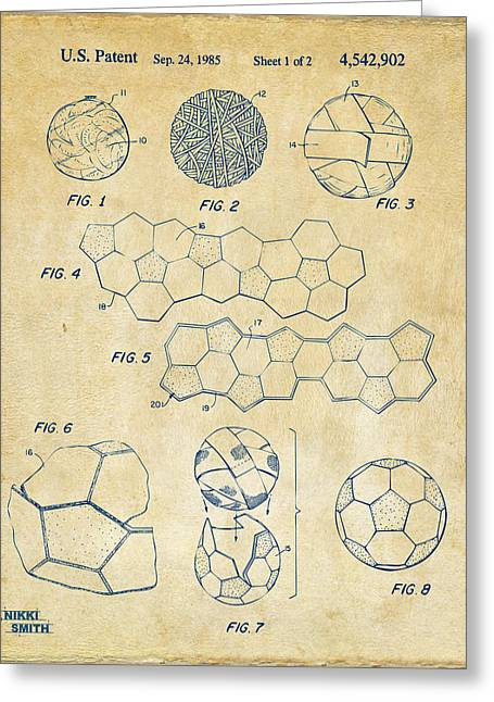 Soccer Ball Construction Artwork - Vintage Greeting Card by Nikki Marie Smith