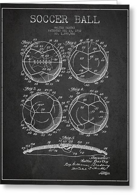 Soccer Ball Patent Drawing From 1932 - Dark Greeting Card by Aged Pixel