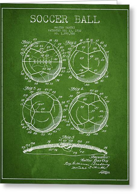 Soccer Ball Patent Drawing From 1932 - Green Greeting Card