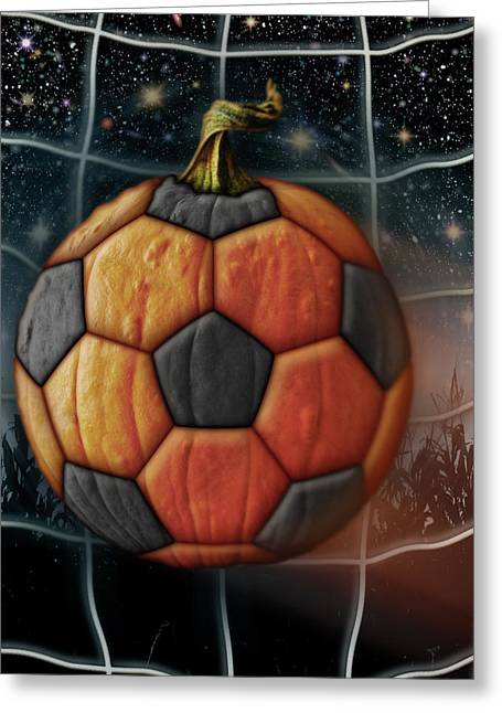 Soccer Ball Pumpkin Greeting Card