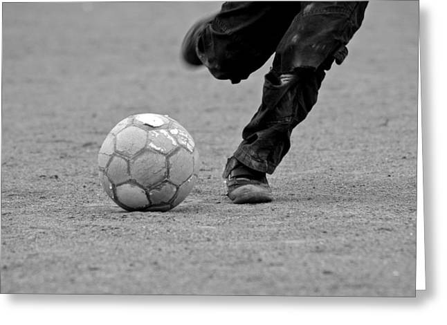 Soccer - Boy Is Kicking A Football - Black And White Greeting Card by Matthias Hauser