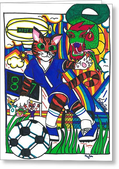 Soccer Cat Greeting Card by Artists With Autism Inc