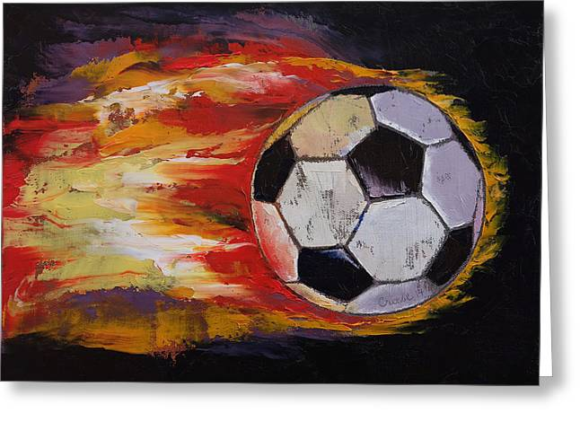 Soccer Greeting Card by Michael Creese