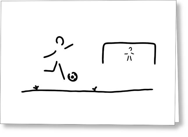 Soccer Player Greeting Card by Lineamentum