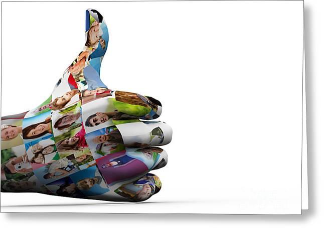 Social Media People Painted Hand In Ok Sign Greeting Card by Michal Bednarek