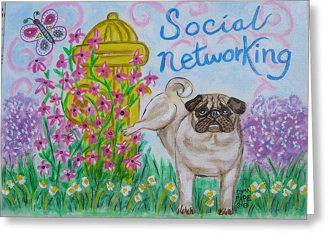 Social Networking Pug Greeting Card by Diane Pape