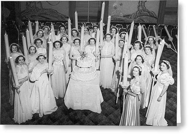 Society Girls At Birthday Ball Greeting Card by Underwood Archives