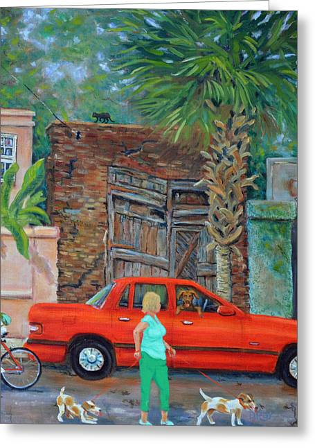 Greeting Card featuring the painting Society Street Afternoon by Dwain Ray