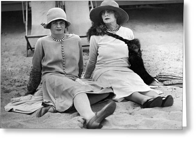 Society Women At The Beach Greeting Card