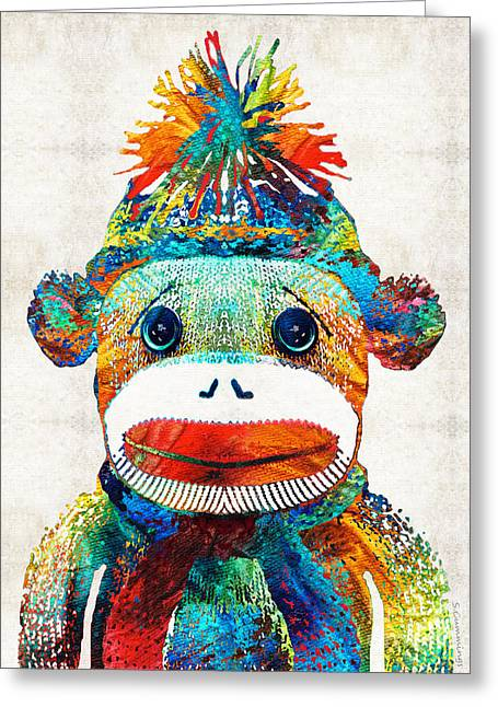 Sock Monkey Art - Your New Best Friend - By Sharon Cummings Greeting Card