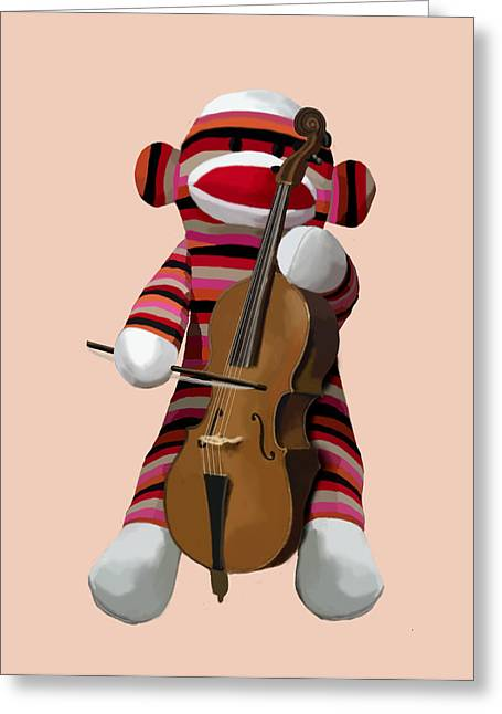 Sock Monkey With Cello Greeting Card by Kelly McLaughlan