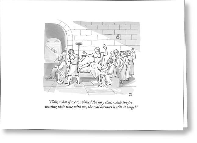 Socrates Drinking Hemlock Greeting Card by Paul Noth