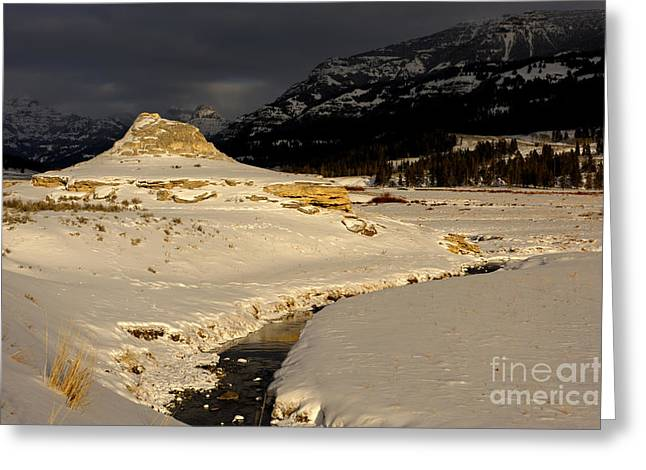 Soda Butte Yellowstone Greeting Card by Deby Dixon