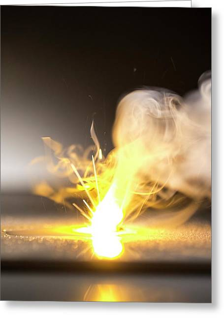 Sodium Burning In Water Greeting Card by Science Photo Library
