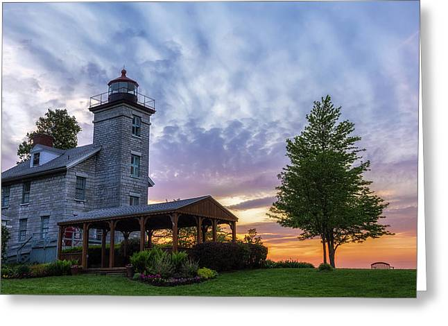 Sodus Bay Lighthouse Greeting Card by Mark Papke