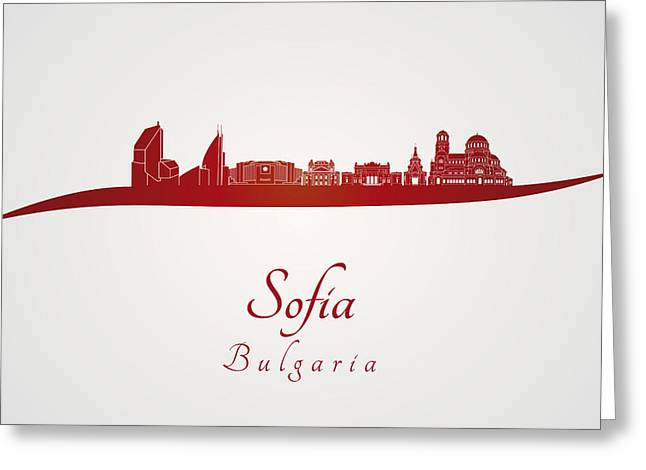 Sofia Skyline In Red Greeting Card by Pablo Romero