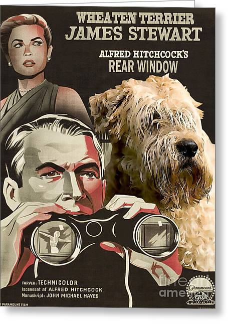 Soft-coated Wheaten Terrier  - Wheaten Terrier Art Canvas Print - Rear Window Movie Poster Greeting Card