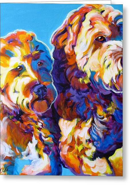 Soft Coated Wheaten Terrier - Max And Maggie Greeting Card by Alicia VanNoy Call