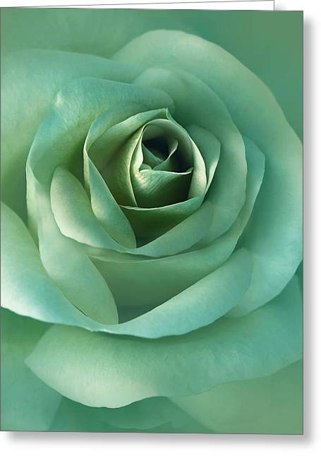 Soft Emerald Green Rose Flower Greeting Card by Jennie Marie Schell