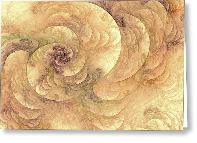 Soft Fractal Filigree Yellow Greeting Card
