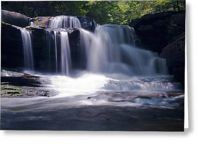 Soft Light Dunloup Falls Greeting Card by Shelly Gunderson