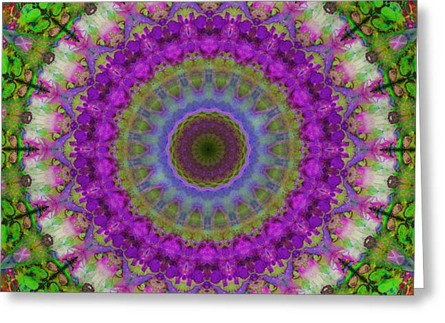 Soft Light - Kaleidoscope Mandala By Sharon Cummings Greeting Card
