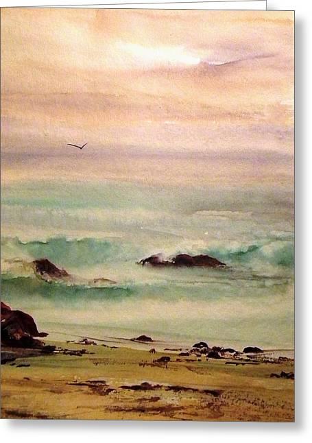 Soft Light Penguin Beach Greeting Card by Evelyn Antonysen