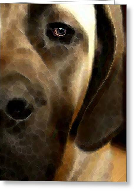 Soft Love - Mastiff Dog Art By Sharon Cummings Greeting Card by Sharon Cummings